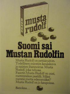 Fazerin Musta Rudolf -pastilli. Sen sisartuote oli Kaunis Veera -pastilli puna-valkoisessa rasiassa.