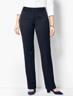 You'll be a standout in our Refined Bi-Stretch Barely Boot Pants - Curvy Fit - only at Talbots! Formal Trousers Women, Slacks For Women, Suits For Women, Clothes For Women, Business Outfits, Office Outfits, Outfits For Teens, Plus Size Outfits, Fashion Pants