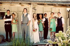 Newlyweds Gemma Bullough and Steve Brown (and wedding party) at their Bohemian-style wedding at Leo Carillo Ranch in Carlsbad.