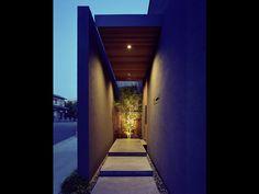 House in Jiromaru Matsuyama Architect and Associates Villa Design, Gate Design, House Design, Entrance Lighting, Facade Lighting, Entrance Gates, House Entrance, Restaurant Door, Porches