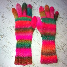 Knitted mittens.