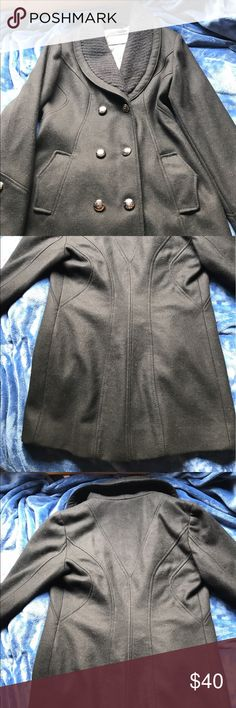 Guess women coat Guess coat used a couple of times but still in great condition black color size M 60% wool guess  Jackets & Coats Pea Coats