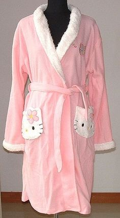 Hello Kitty Baby Pink Bath Robe - Oh, dear, do I put this with the kitties or with the Pinks? Hello Kitty Clothes, Hello Kitty Items, Sanrio Hello Kitty, Hello Kitty Baby Stuff, Hello Kitty Bedroom, Hello Kitty House, Hello Kitty Merchandise, Hello Kitty Pictures, Hello Kitty Collection