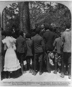 Little Negro tea pickers singing pickaninny songs for President Roosevelt, Pinehurst Tea Farm, Summerville, S.C.