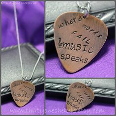 Where Words Fail Music Speaks Copper Guitar Pick Handstamped necklace - Custom Hand Stamped necklace on Etsy, $25.00
