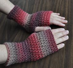 Ravelry: Everyday Fingerless Gloves - free pattern by Cathy Campbell - crocheted in a spiral