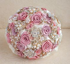 Brooch bouquet. Blush Pink Ivory and Gold by MagnoliaHandmade, $60.00
