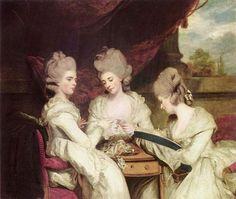 Sir Joshua Reynolds  Die Schwestern Waldegrave. 1770-1780, Öl auf Leinwand, 143 × 168 cm. Edinburgh, National Gallery of Scotland. Großbritannien. Rokoko, Klassizismus.  KO 00757