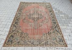 Turkish vintage Oushak area rug, 6X9 RUG, Faded rug, Boho home decor, Wool area rug, Rugs for living room, Turkey rug,Muted color rug-carpet Room Rugs, Rugs In Living Room, Rugs On Carpet, Carpets, Types Of Carpet, Unique Rugs, Muted Colors, Wool Area Rugs, Handmade Rugs