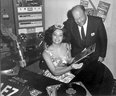 Miss Florida Gloria Brody, and Arthur Zucker at Miami Radion Station WAEZ - Miami Beach, Florida Miss Florida, Pageants, Beauty Queens, Miami Beach, Image, Collection, Beauty Pageant