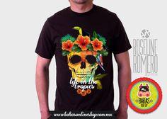Playera - camiseta Hombre Calavera Tropics de bakasonlineshop en Etsy