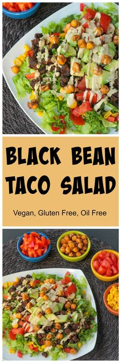 Black Bean Taco Salad - super quick and easy and perfect for a weeknight meal. Top it off with my crunchy roasted chickpeas (oil free!) and my super dreamy and delicious  Creamy Cumin Ranch Dressing (a reader fave!).