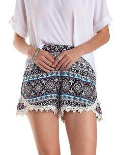 Crochet-Trim Boho Print Tulip Shorts: Charlotte Russe #boho #shorts #highwaisted