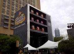 The giant Doritos Vending Machine stage in downtown Austin during SXSW.