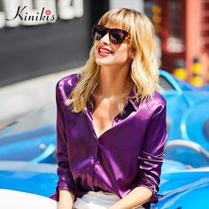 Women chiffon tee purple women tops single breasted office fashion solid spring casual t-shirt