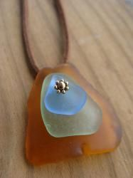 chic & beach bohemian, genuine tumbled, melted & rare, handmade sea glass jewelry for women in layered & stacked, pendant necklaces