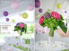 Bright & colourful reception decor