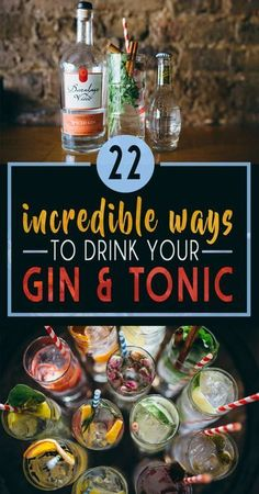 22 Gin And Tonics That Will Blow Your Mind Gin Drink Recipes, Gin Cocktail Recipes, Summer Cocktails, Sourcrout Recipes, Cocktail Drinks, Yummy Drinks, Alcoholic Drinks, Bartender Drinks, Beverages