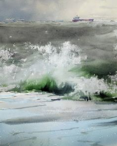 Sergey Temerev Watercolor Ocean, Waves, Russia, Nature, Outdoor, Painting, Countries, Art, Art Background
