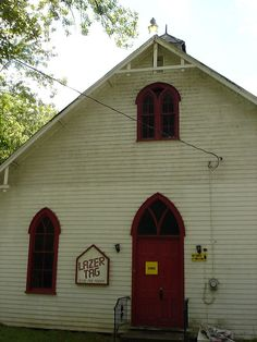 The Williams Grove amusement park in Harrisburg, PA, converted a charming, antiquated old church into a venue for modern sci-fi violence. Church Conversions, Adaptive Reuse, Old Churches, Church Building, New Uses, Amusement Park, Shed, Outdoor Structures, House Styles