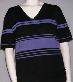 "Black Blouse With Purple Stripes-Size 1x by JILLIAN JONES-100% Cotton-Width 22""/Length 26"" -plus size-$10.70"