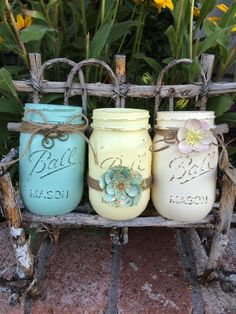 Pretty Pastels Painted Mason Jar set of 3 by TwineandDandy on Etsy