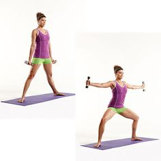Plie w/ Lateral Fly- Stand with feet about 4 feet apart and toes pointed out. Hold arms by your sides and a 5- 8 pound dumbbell in each hand, palms forward. Imagine sliding down a wall as you bend your knees deeply(knees should come over big and second toes) and raise your arms out to the sides at shoulder height so they form a T. Keep head, shoulders, and hips in line and abs engaged throughout the move. Return to starting position. Do 15 reps. #plie #legs via www.health.com/health/gallery/0,,20503620_6,00.html