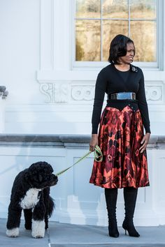 Michelle Obama (48) Welcoming the White house Christmas Tree, 2012 . Obama Family Thanksgiving Weekend