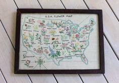 Embroidered United States Flower Map Pattern Framed Antique Vintage Folk Art USA on Etsy, $125.00