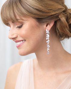 Anastasia Long Dangle CZ Earrings – Famous Last Words Bridesmaid Jewelry Sets, Bridal Jewelry Sets, Bridal Sets, Bridal Accessories, Bridesmaid Earrings, Bridal Jewellery, Chandelier Earrings, Crystal Earrings, Diamond Earrings