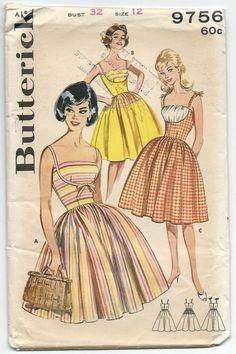 Vintage Sewing Pattern Butterick 9756 Misses Pin Up Shelf Bust Summer Dress with Full Skirt - Very Brigitte Bardot Sz 12 B 32 FF Vintage Dress Patterns, Clothing Patterns, Vintage Dresses, 60s Patterns, Retro Outfits, Vintage Outfits, Butterick Sewing Patterns, Retro Fashion, Vintage Fashion
