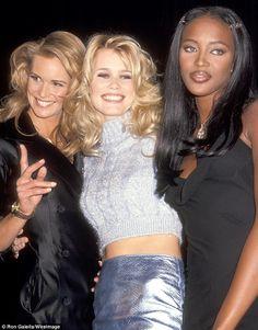 Elle Macpherson, Claudia Schiffer, and Naomi Campbell in 1994 Elle Macpherson, Claudia Schiffer, Lauren Hutton, Christy Turlington, Top Models, Naomi Campbell 90s, 90s Fashion, Fashion Models, Female Fashion