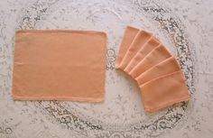 Vintage Peach Napkins And Table Centerpiece by VintageLinenGallery