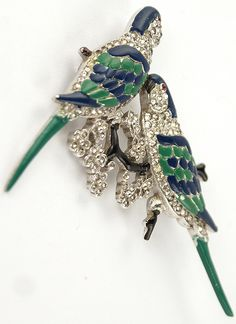 KTF Trifari 'Alfred Philippe' Pair of Pave and Enamel Parakeet Birds on a Branch Pin /485