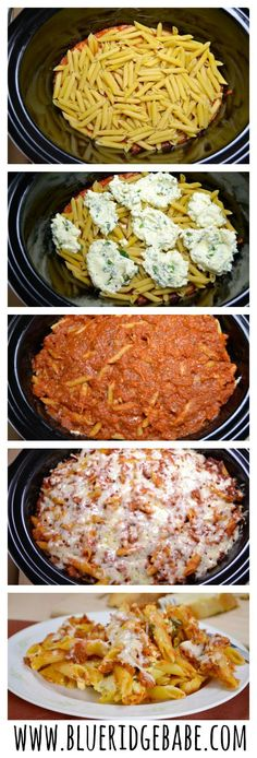 easy crockpot baked ziti - pinned over 200k times. Super easy and delicious!
