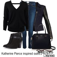 Katherine Pierce inspired outfit/TVD by tvdsarahmichele on Polyvore featuring Michael Kors, BCBGMAXAZRIA, Paige Denim, Forever 21 and Kate Spade