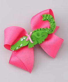 Apple Green & Hot Pink Alligator Bow