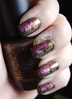 Purple and Grey Glitter Leaves Nails Design Ideas in 2014 - Thanksgiving DIY Nails for Party