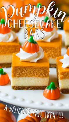 These pumpkin cheesecake bars are layers of graham cracker crust, vanilla cheesecake and pumpkin cheesecake, all baked together to create an impressive dessert.