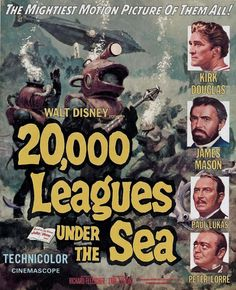 "Leagues Under the Sea"" directed by Richard Fleischer and produced by Walt Disney. The first science fiction film shot in CinemaScope. Starring Kirk Douglas and James Mason as Captain Nemo. Science Fiction Movies, Steampunk Movies, Walt Disney Pictures, Movie Posters Vintage, Movies, The Sea Movie, Old Movies, Science Fiction Film, Sci Fi Movies"