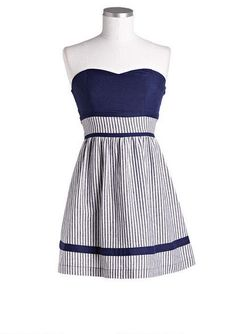 Tube Pinstripe Dress. Would love with red belt. <3