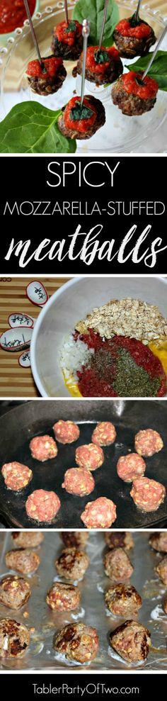 Mozzarella Stuffed Marinara Meatballs. Super yummy and even skinny!