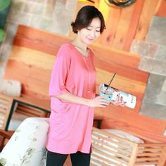 Republic of Korea reigning Women's Clothing Store [CANMART]  Other teuim Rays Tee / Size : Free / Price : 11.47 #pink #T-shirt #Tee # LongTee