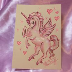 Unicorn Pegasus in candy pink hues and sprinkled with shimmer! Original Art by… Unicorn Art, Rainbow Unicorn, Pegasus Tattoo, Swan Tattoo, Miss Fluff, Pin Up, Art Women, People Art, Fantastic Art