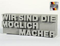 """Mini-Gussstein: """"WIR SIND DIE MÖGLICHMACHER!"""", Sandsteinguss"""