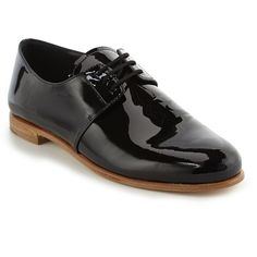 Prada Vernice Patent Leather Lace-Up Oxfords (48.450 RUB) ❤ liked on Polyvore featuring shoes, oxfords, apparel & accessories, black, polish shoes, lace up shoes, lace up oxfords, cushioned shoes and patent leather shoes