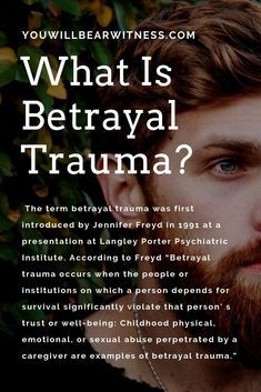 trauma occurs when the people or institutions on which a person depends for survival significantly violate that person' s trust or well-being: Childhood physical, emotional, or sexual abuse perpetrated by a caregiver are examples of betrayal trauma. Trauma Therapy, Occupational Therapy, Complex Ptsd, Stress Disorders, Survival, Les Sentiments, Psychology Facts, Psychology Meaning, Color Psychology