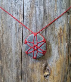 Hand Crocheted Beach Stone Necklace by LandOfYarnia on Etsy, $15.00