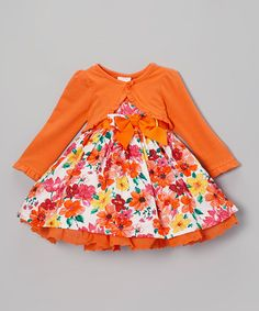 This Orange Floral Dress & Ruffle Cardigan - Toddler & Girls is perfect! #zulilyfinds  very cute without the sweater