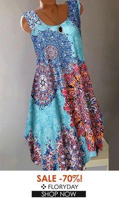 Floral round neckline knee-length a-line dress, floral dress, fashion. Day Dresses, Dresses For Sale, Cute Dresses, Modest Fashion, Women's Fashion Dresses, Affordable Dresses, Mode Outfits, Buy Dress, Dress Collection